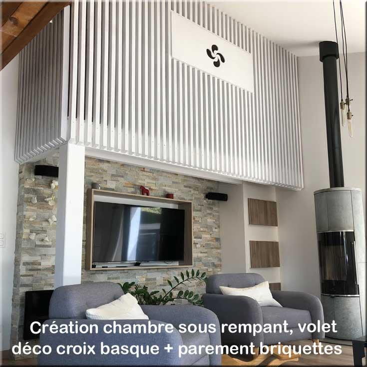 création chambre sous rempant sous plafond mezzanine - rénovation travaux intérieur Bayonne Anglet Biarritz